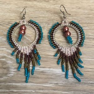 Gorgeous beaded boho fringe earrings